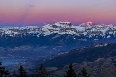 Coucher de soleil sur la Tournette et le Mont Blanc
